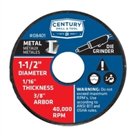 "Century Drill & Tool 1-1/2"" x 1/16"" Metal Cutting Wheel Case of 6"