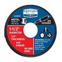 "Century Drill & Tool 1-1/2"" x 1/4"" Metal Cutting Wheel Case of 6"