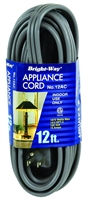 Bright-Way 12 ft Appliance Extension Cord 12AC Case of 5