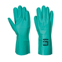 Portwest Nitrosafe Chemical Gauntlet Gloves Green A810