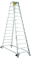 Louisville Ladder 14 Foot Aluminum Industrial Aircraft Mechanic Ladder AM8014
