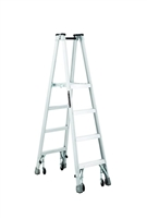 Louisville Ladder 4 Foot Aluminum Twin Platform Rolling Step Ladder AMP1004-4C