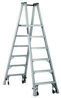 Louisville Ladder 6 Foot Aluminum Twin Platform Rolling Step Ladder AMP1006-4C