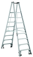 Louisville Ladder 8 Foot Aluminum Twin Platform Rolling Step Ladder AMP1008-4C
