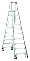 Louisville Ladder 10 Foot Aluminum Twin Platform Rolling Step Ladder AMP1010-4C