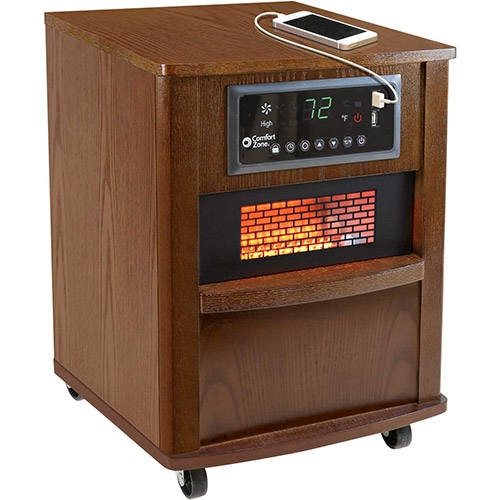 Comfort Zone CZ2062W Premium Infrared Heater Wood Cabinet Walnut With Remote