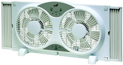 "Comfort Zone CZ310R 9"" Reversible Twin Window Fan with Remote Control"