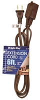 Bright-Way 6 ft Household Extension Cord Brown EE6 Case of 10