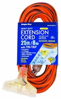 Bright-Way 25 ft Triple Tap Lighted End Extension Cord Grounded R3125CTL