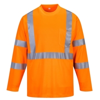 Portwest Hi-Vis Long Sleeve Pocket T-Shirt S191