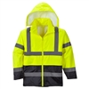 Portwest Hi-Vis Classic Contrast Rain Jacket Yellow/Black UH443